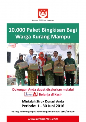 Donasiku 10.000 paket bingkisan untuk warga kurang mampu