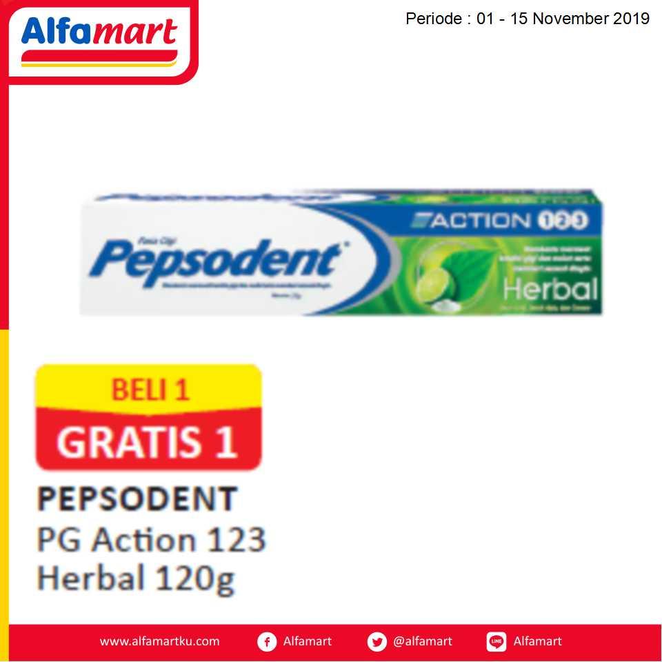 Beli 1 GRATIS 1 Pepsodent PG Action 123 Herbal 120g